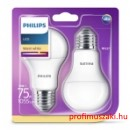 Philips Consumer LED bulb 11-75W A60 E27 827 FR ND 2 pack E27 Körteégő