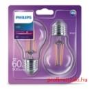 Philips Consumer LEDClassic  bulb 6-60W A60 E27 827 CL ND 2 pack E27 Körteégő