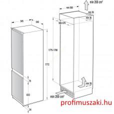 Gorenje NRKI4182E1 Beépíthető kombinált alul fagyasztós hűtő